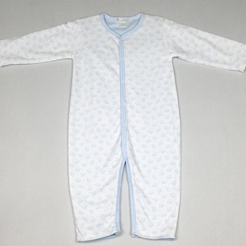 White and Blue Elephants/Stripes Reversible Playsuit