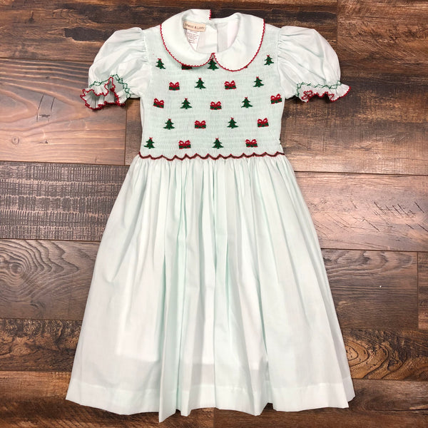 Vintage Hand Smocked Dress - Mint