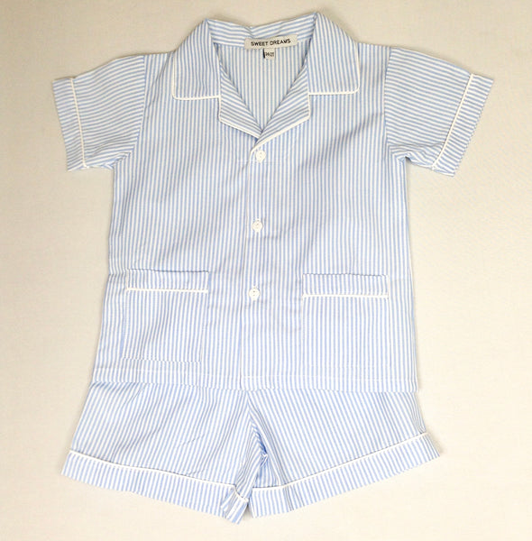 Short Sleeve Blue Stripe Pajama Set