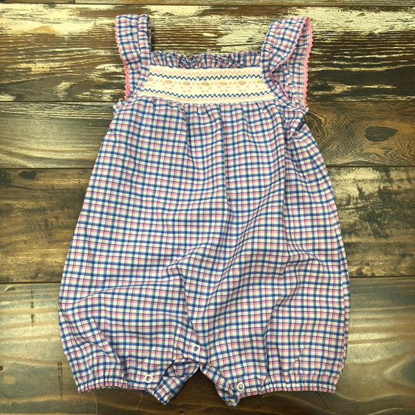 Geometric Smocked Bubble - Pink and Blue