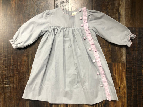 Pink/White Button Dress w/ Ruffle