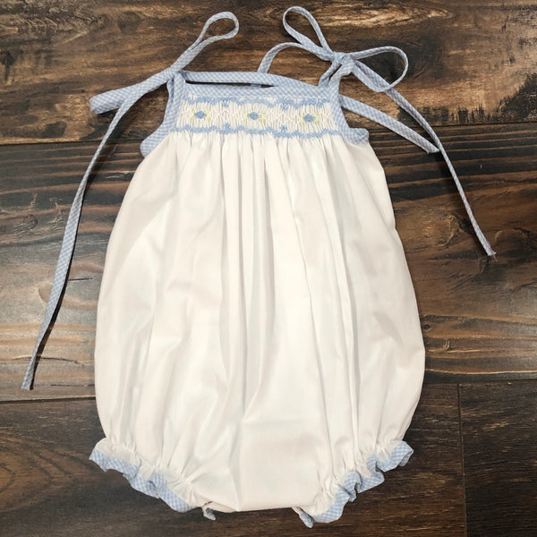 Spaghetti Strap Smocked Bubble - Blue/White