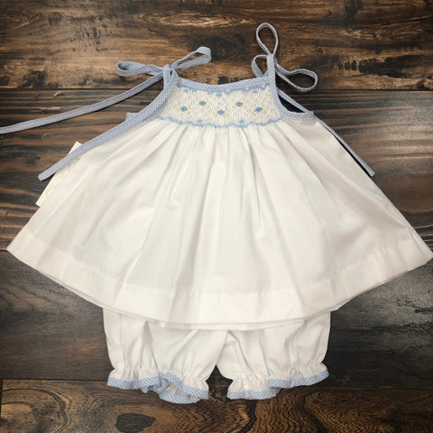 Spaghetti Strap Smocked Bloomer Set - Blue/White