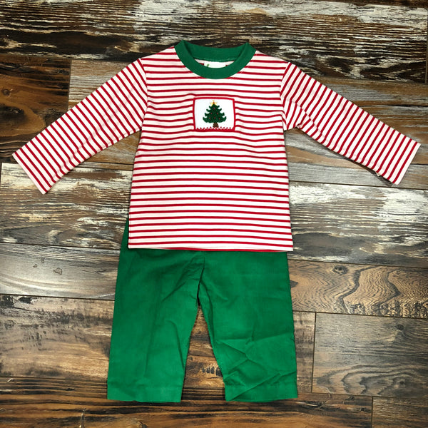 Smocked Christmas Tree Pant Set