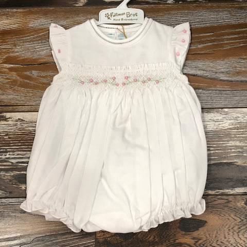 Angel Sleeve Smocked Bubble - White