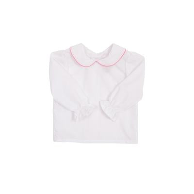 Maude's Peter Pan Collar - White with Hot Pink Trim