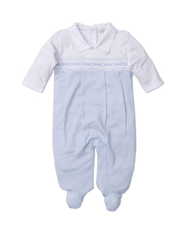 Light Blue Smocked Fall Medley Footie