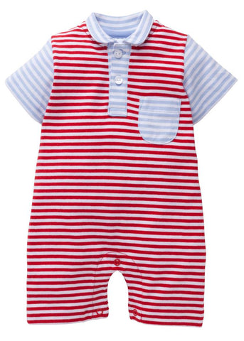 Pocket Peter Pan Romper - Red/Blue