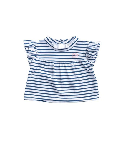 Striped Flutter Shirt - Blueberry