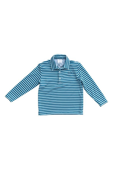 Long Sleeve Performance Polo - Lt Blue Stripe