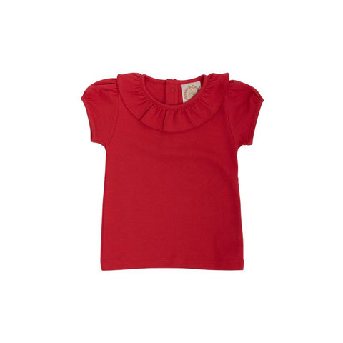 Ramona Ruffle Collar Shirt - Richmond Red
