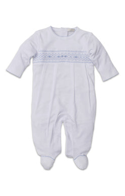 Footie w/ Hand Smocking - White / Lt Blue