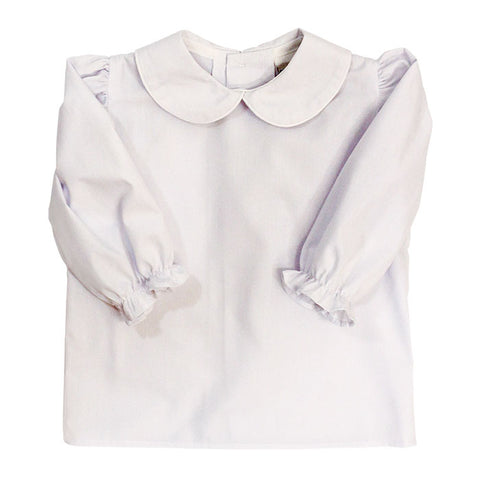 White Peter Pan Collar L/S Top - Girls (Buttons in Back)
