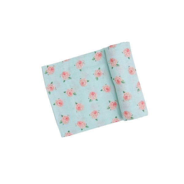 Petit Rose Muslin Swaddle Blanket - Blue