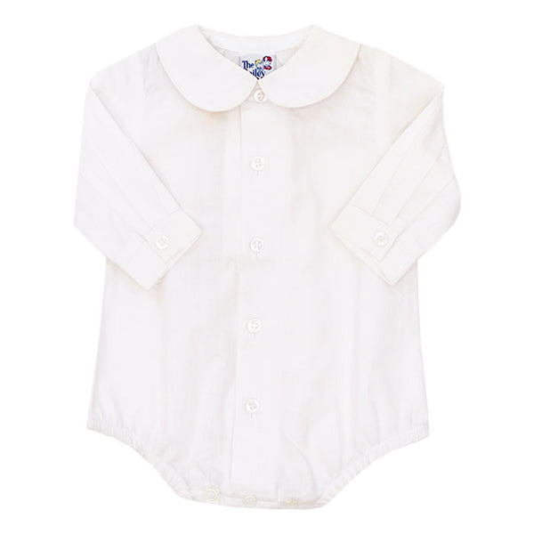 White Peter Pan Collar L/S Bodysuit - Boys (Buttons in Front)