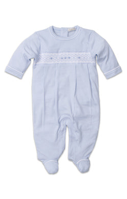 Footie w/ Hand Smocking - Lt Blue
