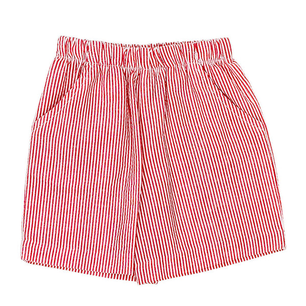 Red Stripe Seersucker Elastic Waist Short