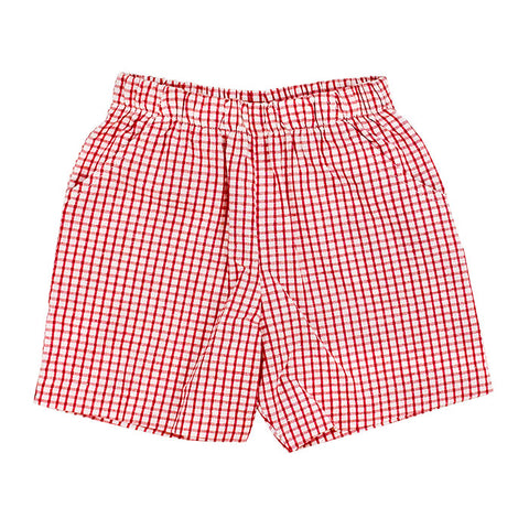 Red Windowpane Elastic Waist Short