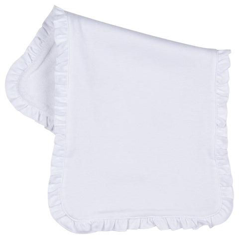 Ruffle Trim Burp Cloth - White
