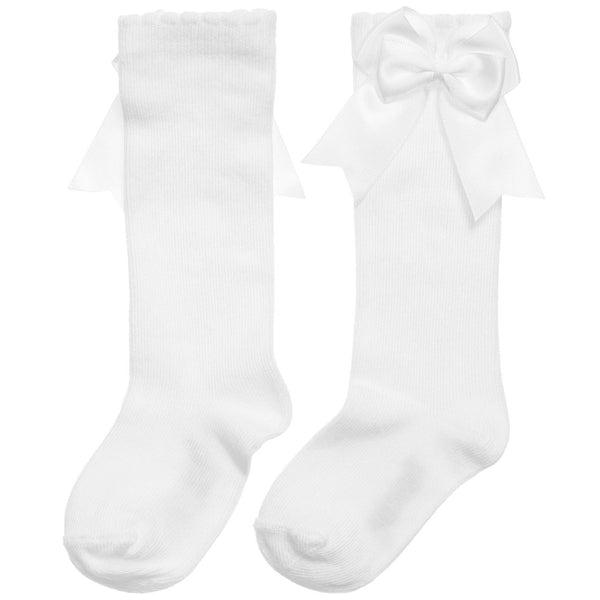 Knee Socks w/ Satin Side Bow - White