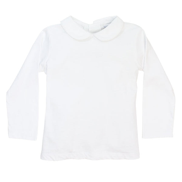 White Peter Pan Collar L/S Top - Knit Unisex (Buttons in Back)