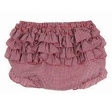 Diaper Cover - Ruffles - Gingham - Red