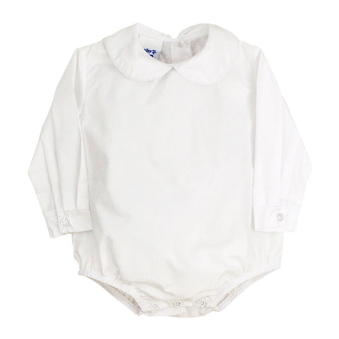White Peter Pan Collar L/S Bodysuit - Boys (Buttons in Back)
