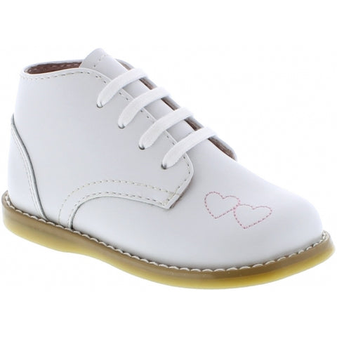 Tammy - White Walking Shoe with Stitched Hearts