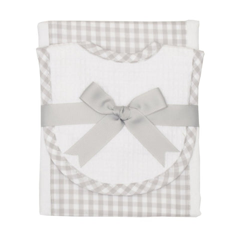 Grey Check Burp/Drooler Set