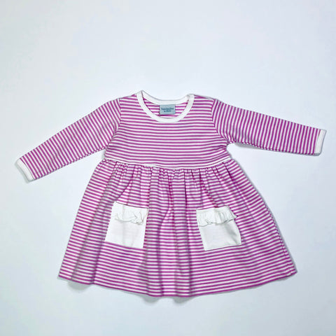 Popover Dress w/ Pockets - Lt Pk/White Stripe