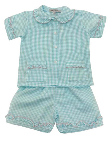 Aqua Gingham Ruffled PJs