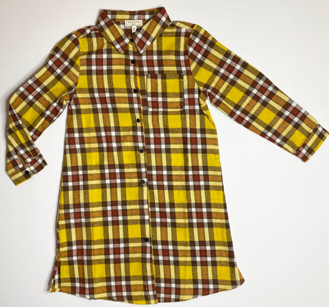 Button Down Flannel Shirt Dress - Mustard