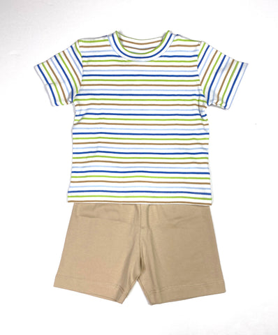 Striped Shirt/Tan Short Set