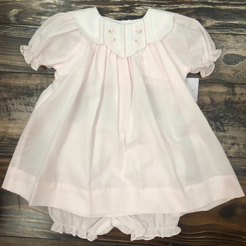 Baby Pink Dress w/ White Collar w/ Embroidery Detail & Bloomers