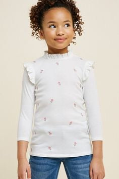 Ribbed Floral Embroidered Ruffle Neck Top - Off White