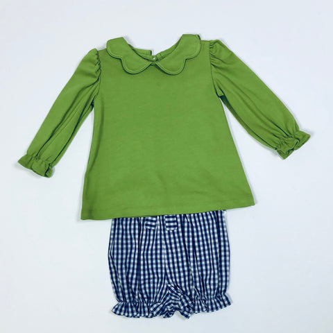 Knit Scalloped Collar Green Shirt/Navy Gingham Bloomers