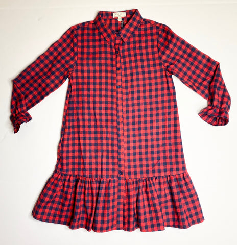 Button Checkered Flannel Dress - Red Mix