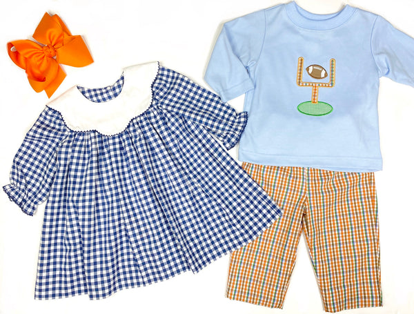 Football Applique Shirt & Plaid Pant Set