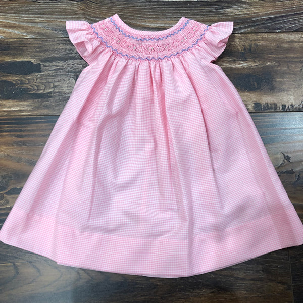 Pink Gingham Check Bishop w/ Geometric Smocking