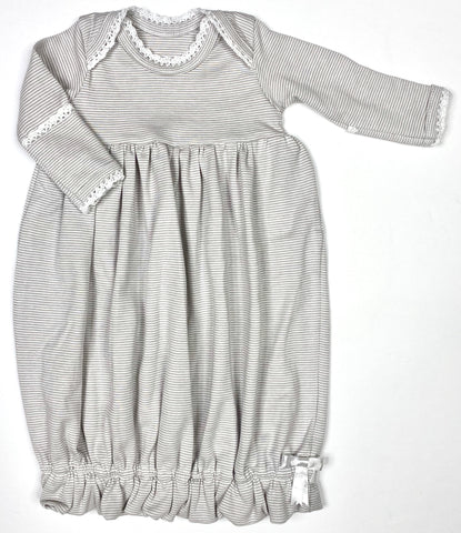 Lap Shoulder Gown w/ Crocheted Trim - Gray/Wh Stripe
