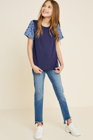 SS Contrast Star Top - Navy