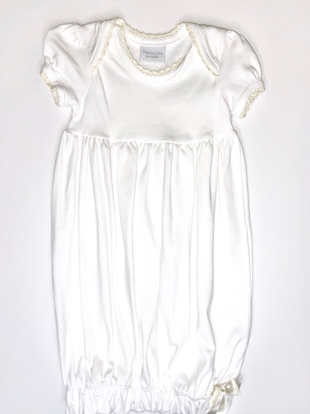 Lap Shoulder Gown - SS - White w/ Ecru Trim