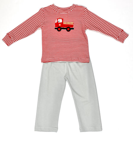 Fire Truck 2 PC Set - Red Stripe and Gray