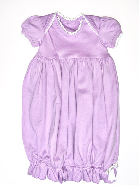 Lap Shoulder Gown - SS - Lavender w/ White Trim