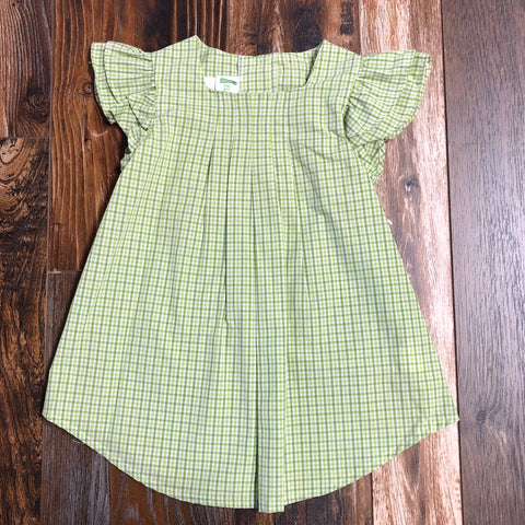 Double Angel Sleeve Lime/Sage Gingham Dress