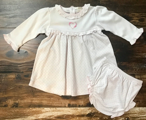 Dress Set with Heart Embroidery