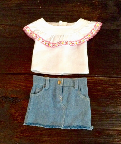 "18"" Doll White Ruffle Shirt / Denim Skirt"