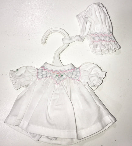 "10"" White Smocked Dress w/ Bonnet 3977"