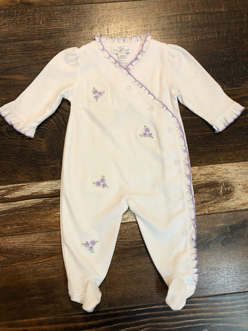 White Pima Footie with Purple Embroidery