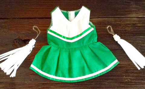 "18"" Doll Green / White Cheer Oufit w/ Pom Poms"
